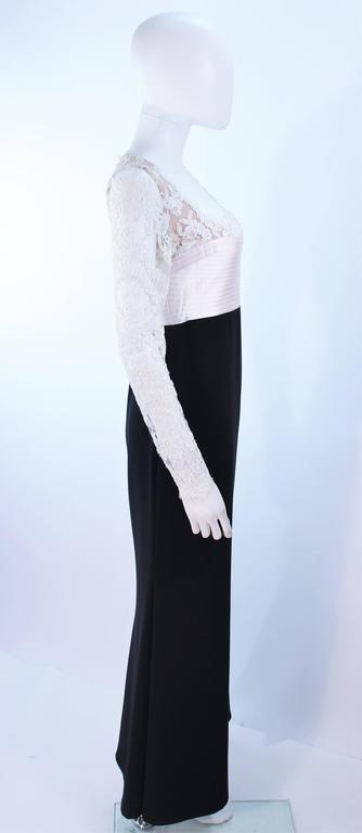BADGLEY MISCHKA Black and White Lace Gown Size 8 10 For Sale 2