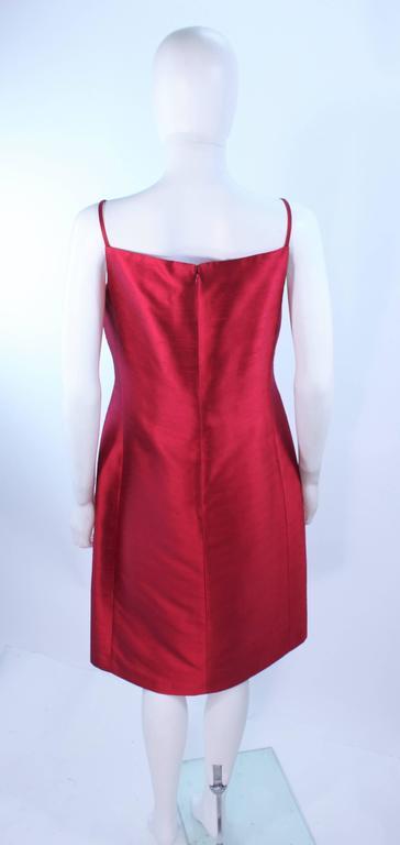 fe666129cf OSCAR DE LA RENTA Cranberry Silk Cocktail Dress with Beaded Bust Detail  Size 8 For Sale