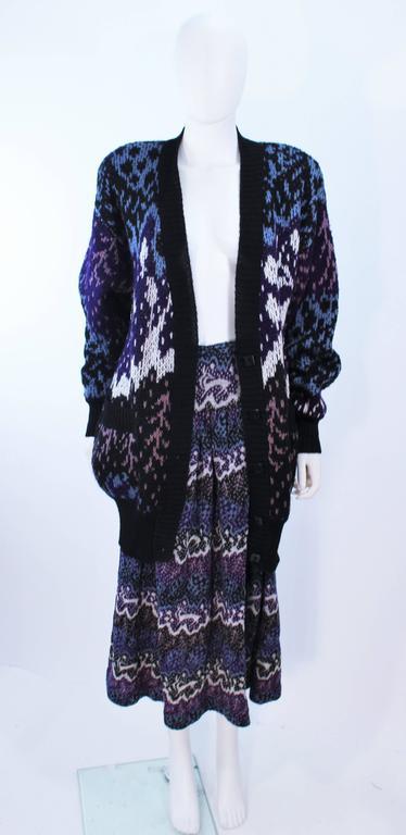 Black MISSONI Knit Navy Cardigan Pants & Skirt Ensemble Size Large For Sale