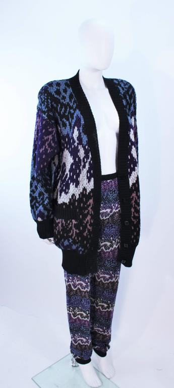 MISSONI Knit Navy Cardigan Pants & Skirt Ensemble Size Large In Excellent Condition For Sale In Los Angeles, CA
