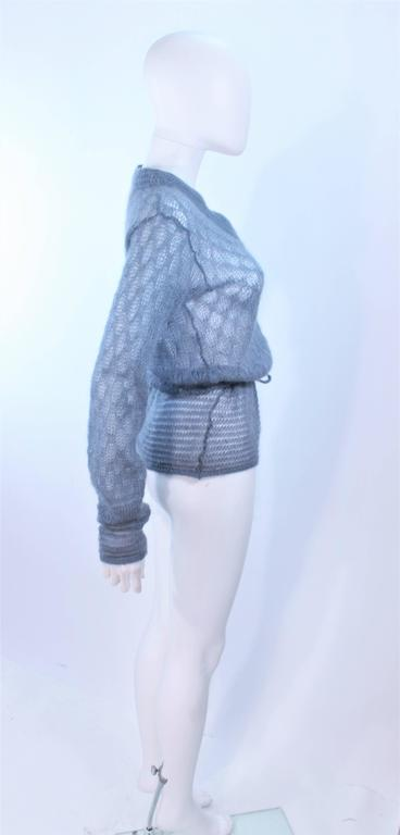 MISSONI Sky Blue Wool Knit V-Neck Sweater Size 8 For Sale 3
