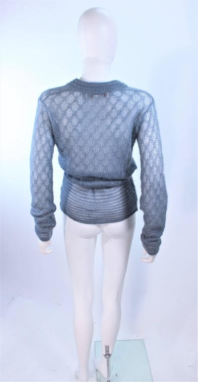 MISSONI Sky Blue Wool Knit V-Neck Sweater Size 8 For Sale 4