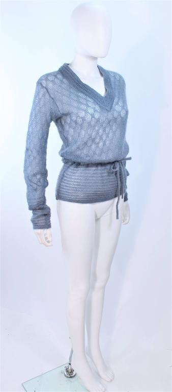 MISSONI Sky Blue Wool Knit V-Neck Sweater Size 8 For Sale 1