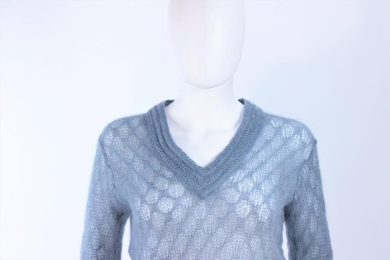Women's MISSONI Sky Blue Wool Knit V-Neck Sweater Size 8 For Sale