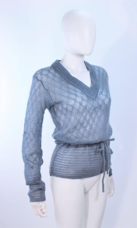 MISSONI Sky Blue Wool Knit V-Neck Sweater Size 8 For Sale 2