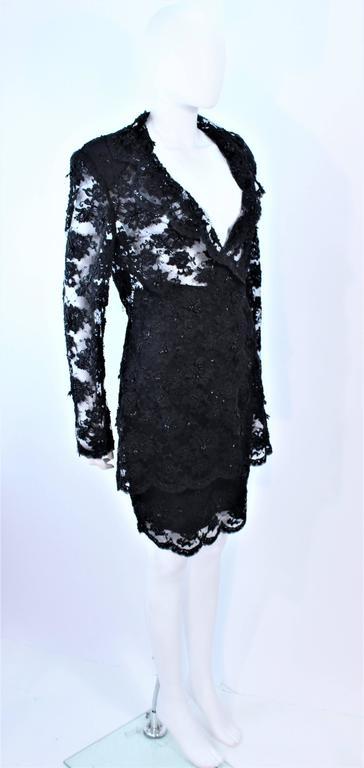 FETOUN Black Sequin Lace Skirt Suit Size 12 For Sale 1