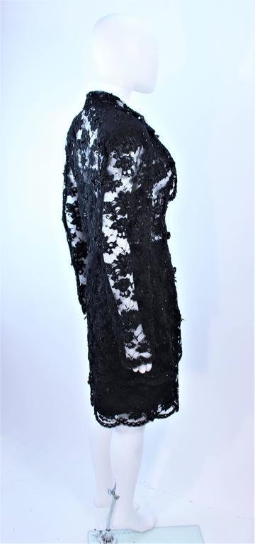 FETOUN Black Sequin Lace Skirt Suit Size 12 For Sale 2