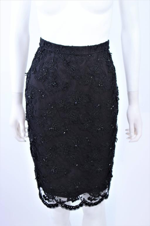 FETOUN Black Sequin Lace Skirt Suit Size 12 For Sale 5