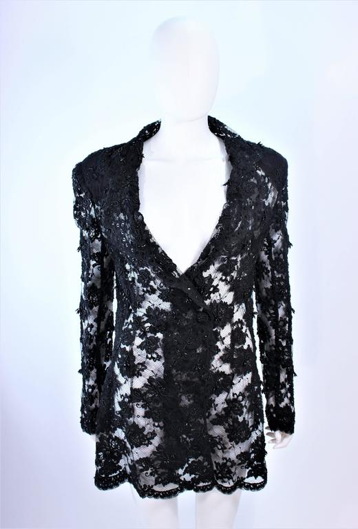 FETOUN Black Sequin Lace Skirt Suit Size 12 For Sale 4