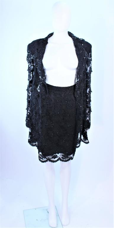 FETOUN Black Sequin Lace Skirt Suit Size 12 In Excellent Condition For Sale In Los Angeles, CA
