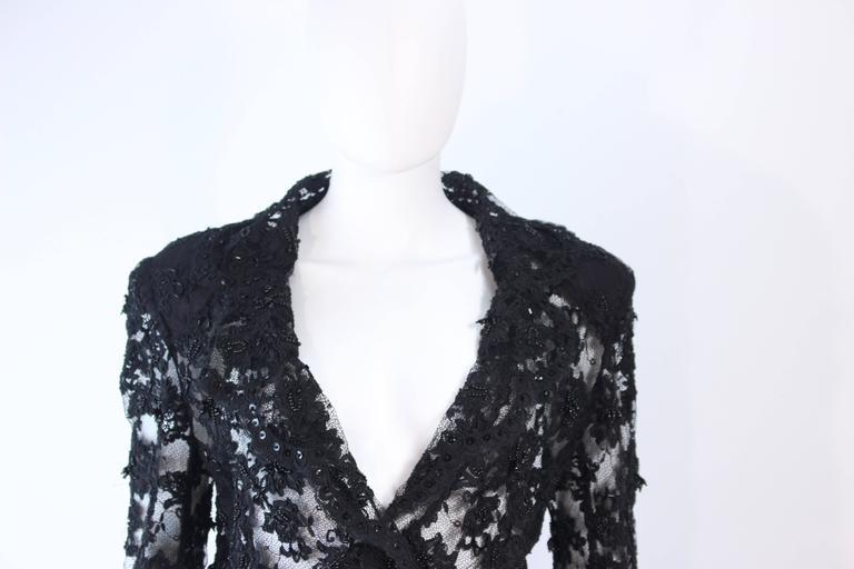Women's FETOUN Black Sequin Lace Skirt Suit Size 12 For Sale