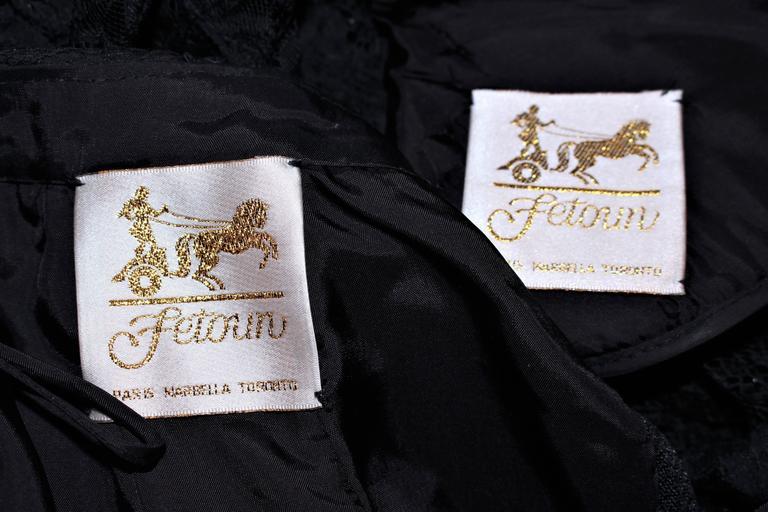 FETOUN Black Sequin Lace Skirt Suit Size 12 For Sale 6