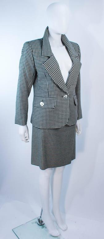 Yves Saint Laurent Black And White Houndstooth Skirt Suit