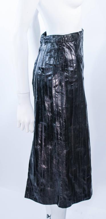 KRIZIA Vintage Black Eel Skirt Size 4 For Sale 4