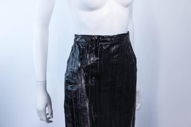 KRIZIA Vintage Black Eel Skirt Size 4 For Sale 2