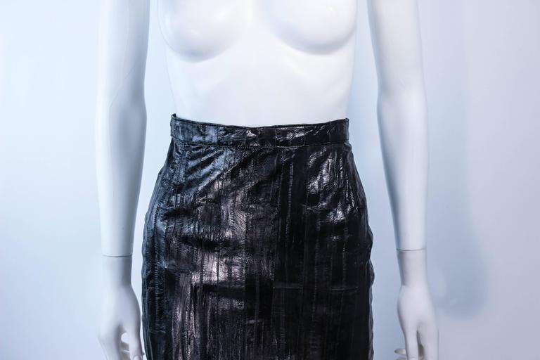 KRIZIA Vintage Black Eel Skirt Size 4 3