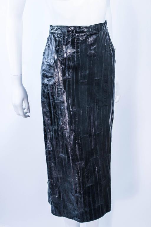 KRIZIA Vintage Black Eel Skirt Size 4 For Sale 1