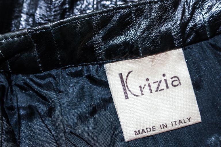 KRIZIA Vintage Black Eel Skirt Size 4 For Sale 6