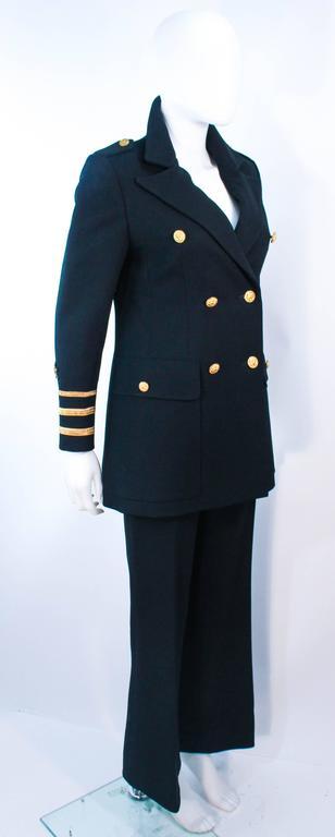 GEINTER PROJECT Black Wool Tailored Sailor Pant Suit Size 6 8 For Sale 2