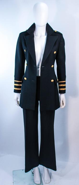 GEINTER PROJECT Black Wool Tailored Sailor Pant Suit Size 6 8 For Sale 1
