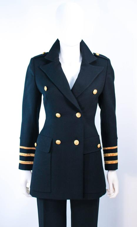 GEINTER PROJECT Black Wool Tailored Sailor Pant Suit Size 6 8 In Excellent Condition For Sale In Los Angeles, CA