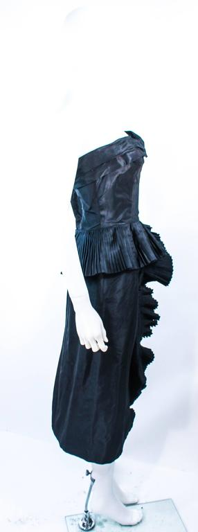 IRENE Black Silk Cascading Ruffle Cocktail Gown and Jacket Size 4 8