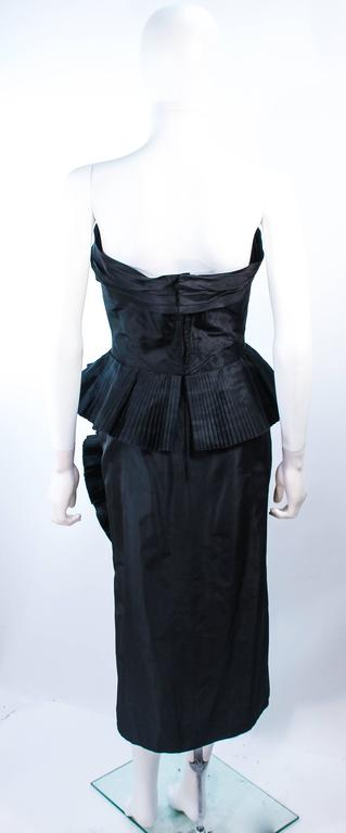 IRENE Black Silk Cascading Ruffle Cocktail Gown and Jacket Size 4 9