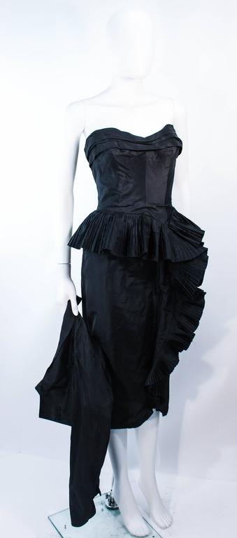 IRENE Black Silk Cascading Ruffle Cocktail Gown and Jacket Size 4 4