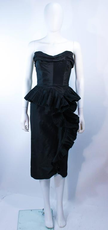 IRENE Black Silk Cascading Ruffle Cocktail Gown and Jacket Size 4 3