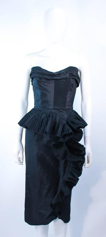 IRENE Black Silk Cascading Ruffle Cocktail Gown and Jacket Size 4 6
