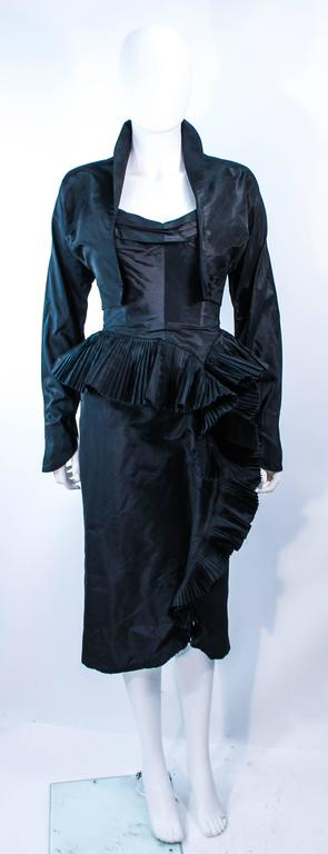 IRENE Black Silk Cascading Ruffle Cocktail Gown and Jacket Size 4 2