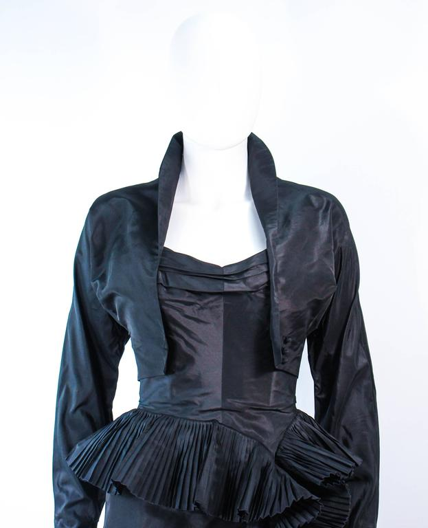 IRENE Black Silk Cascading Ruffle Cocktail Gown and Jacket Size 4 5