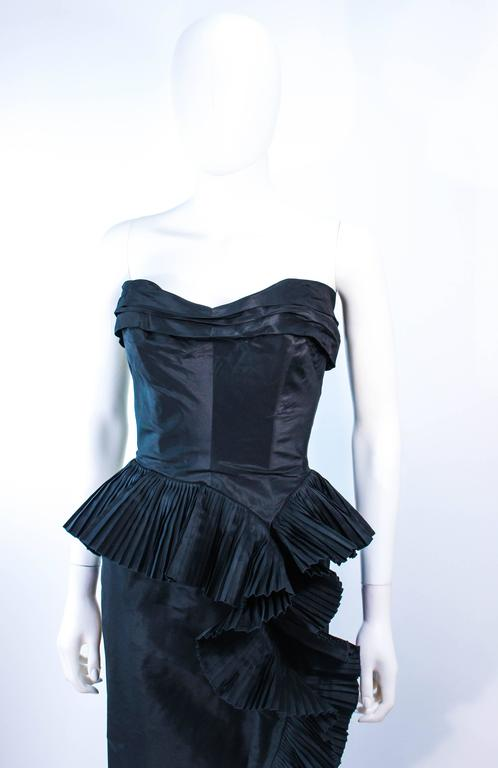IRENE Black Silk Cascading Ruffle Cocktail Gown and Jacket Size 4 7