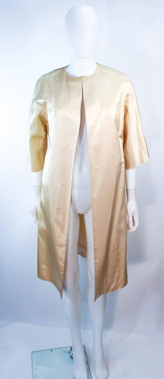 Women's Cream Silk 1960's Beaded Cocktail Dress and Coat Size 6 8 For Sale