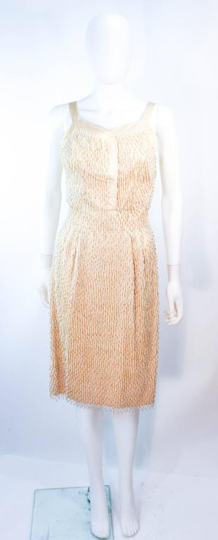 Cream Silk 1960's Beaded Cocktail Dress and Coat Size 6 8 In Excellent Condition For Sale In Los Angeles, CA