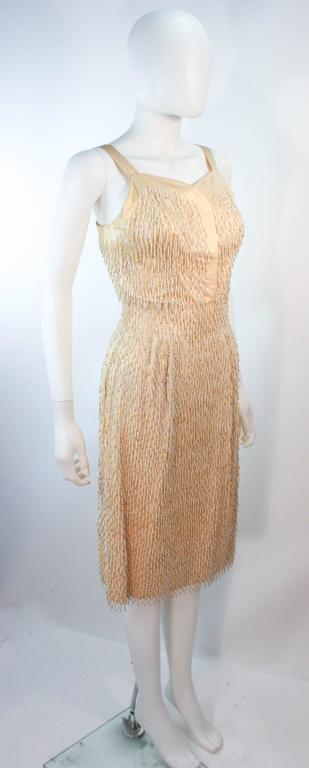 Cream Silk 1960's Beaded Cocktail Dress and Coat Size 6 8 For Sale 1