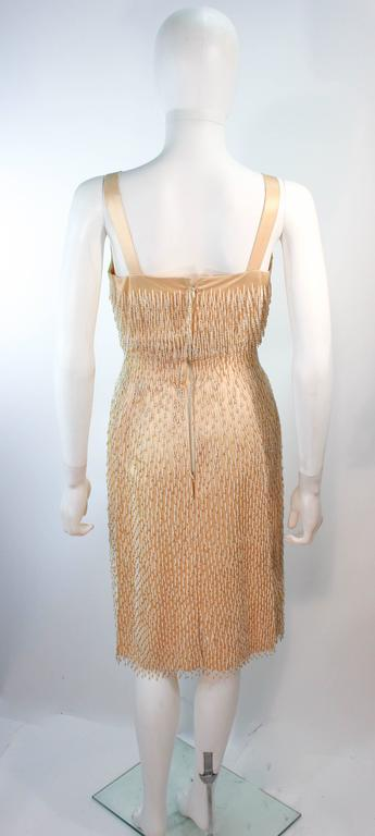 Cream Silk 1960's Beaded Cocktail Dress and Coat Size 6 8 For Sale 4