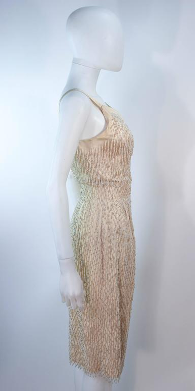 Cream Silk 1960's Beaded Cocktail Dress and Coat Size 6 8 For Sale 3