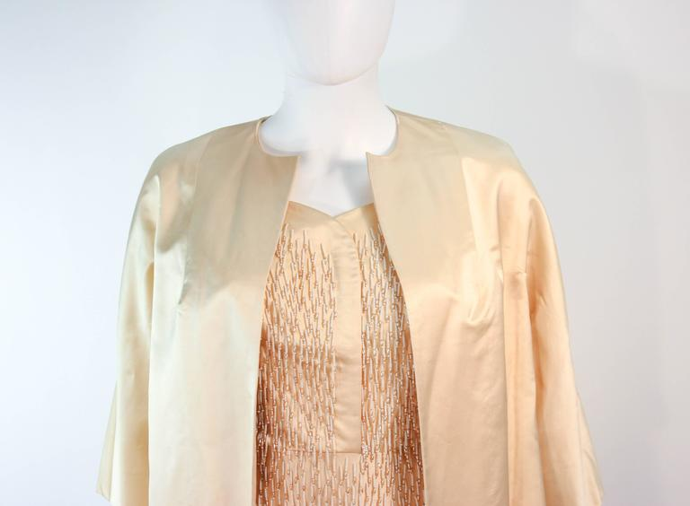 Beige Cream Silk 1960's Beaded Cocktail Dress and Coat Size 6 8 For Sale