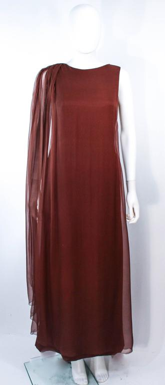 GALANOS 1970's Brown Silk Chiffon Draped Gown Size 4 6 2
