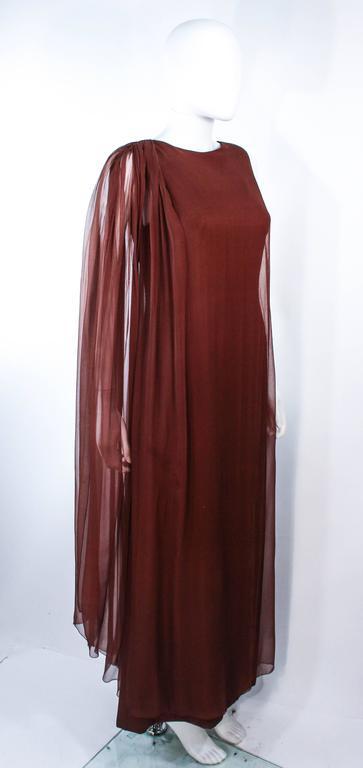 GALANOS 1970's Brown Silk Chiffon Draped Gown Size 4 6 4