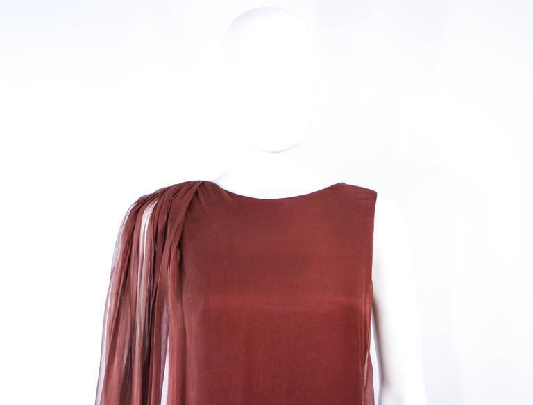 GALANOS 1970's Brown Silk Chiffon Draped Gown Size 4 6 3