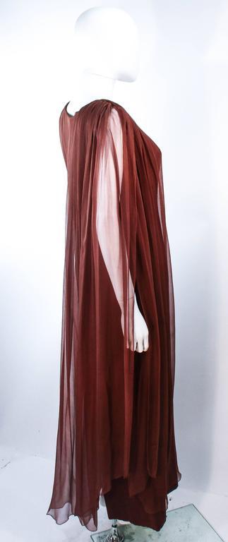 GALANOS 1970's Brown Silk Chiffon Draped Gown Size 4 6 7