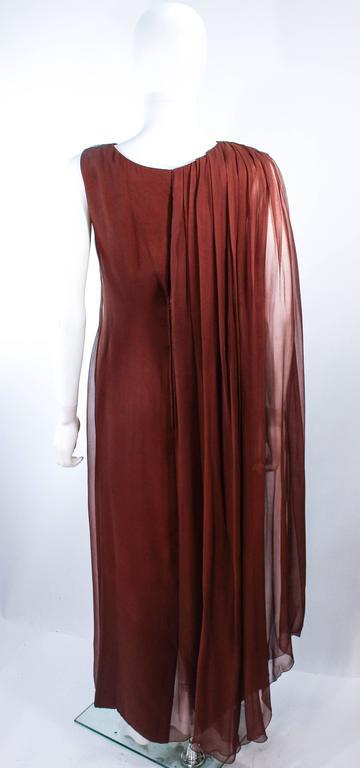 GALANOS 1970's Brown Silk Chiffon Draped Gown Size 4 6 9