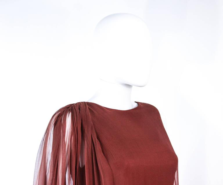 GALANOS 1970's Brown Silk Chiffon Draped Gown Size 4 6 6