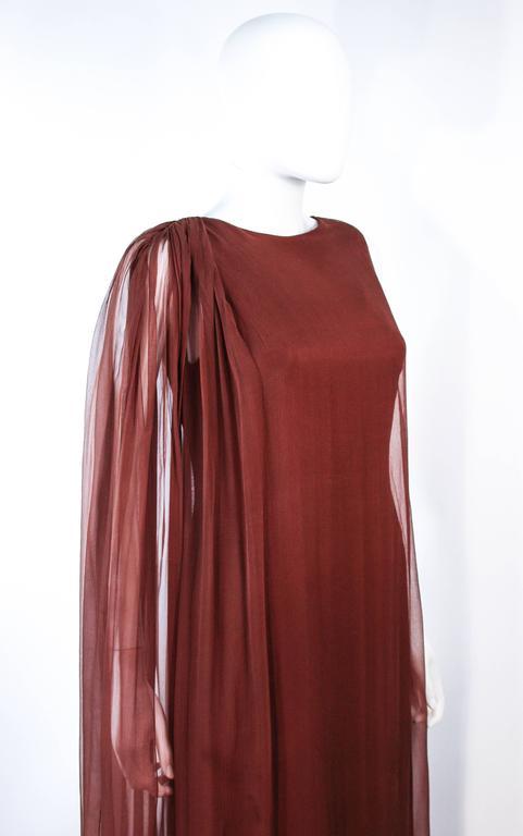 GALANOS 1970's Brown Silk Chiffon Draped Gown Size 4 6 5