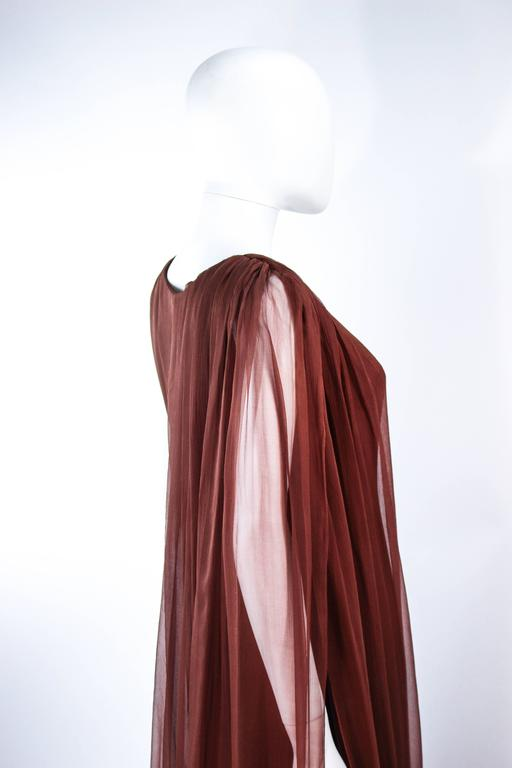 GALANOS 1970's Brown Silk Chiffon Draped Gown Size 4 6 8