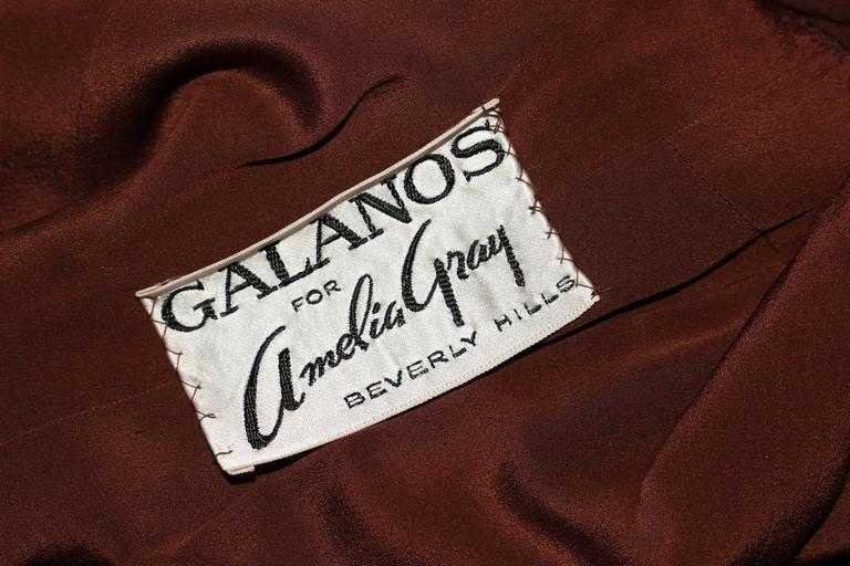 GALANOS 1970's Brown Silk Chiffon Draped Gown Size 4 6 10