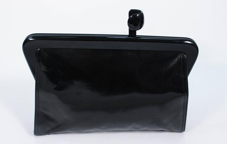Women's or Men's BOTTEGA VENETA Vintage Black Polished Calfskin Clutch with Latch Clasp For Sale