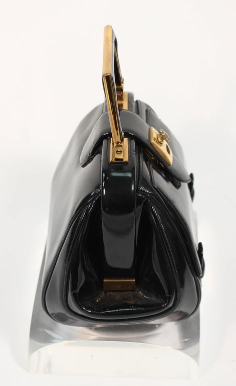 Women's or Men's JUDITH LEIBER Vintage Rare 1960's Black and Gold Patent Leather Petite Purse  For Sale